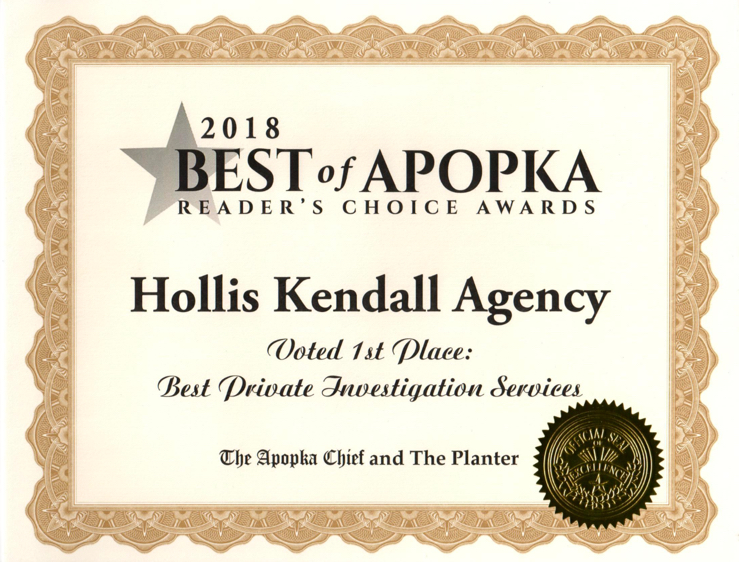 Hollis Kendall Agency Award